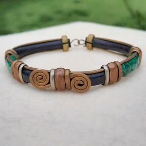 Antique artisan brass bracelet